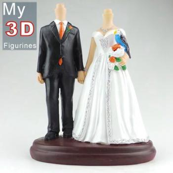 3d personalized bobbleheads wedding with bird SR255