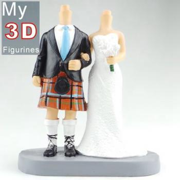 3d personalized bobbleheads Scottish wedding SR251