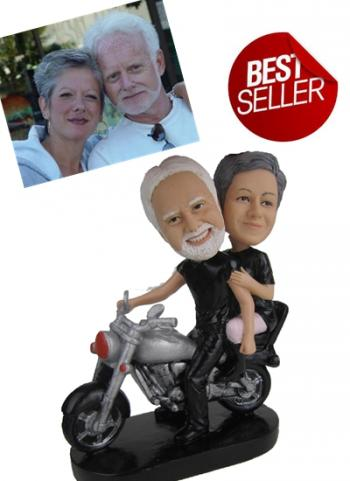 3d personalized bobbleheads Harley Davidson bike couple SR052