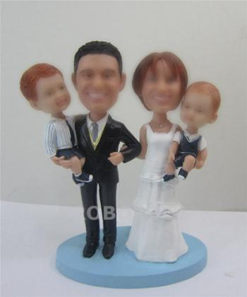 Family Bobblehead Cake Toppers with two Children