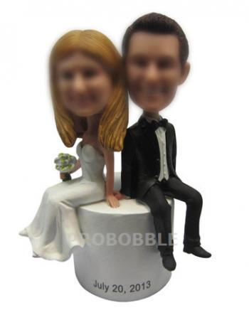 Sitting On Cake Wedding Bobbleheads