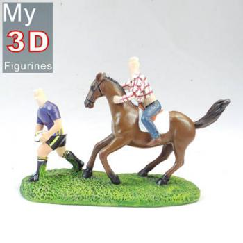 3d personalized bobbleheads couple with horse SR085
