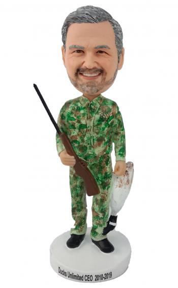 Camouflaged Happy Hunter Bobblehead