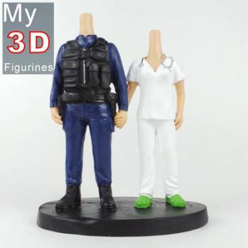 3d personalized bobbleheads police and nurse couple SR137
