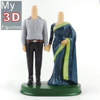 3d personalized bobbleheads Indian couple SR184