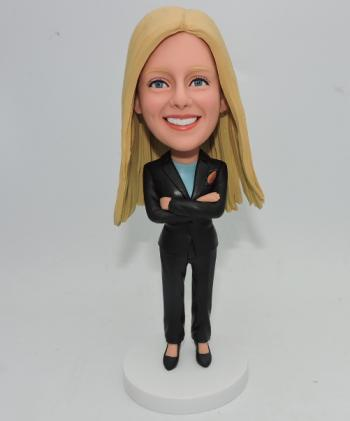 Custom female boss in suit bobblehead