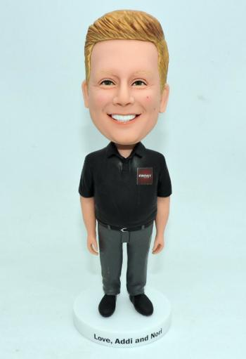 Custom bobblehead polo shirt boss