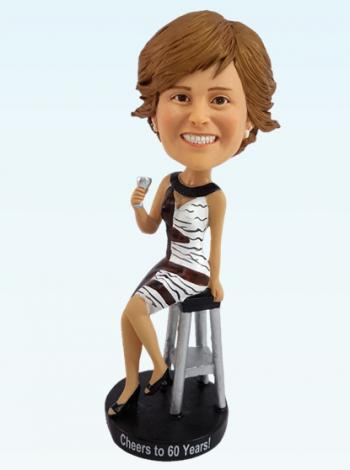 Fashion Lady Drink Wine Bobbleheads