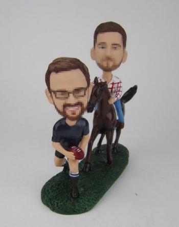 Male Gay Same Sex Cake Toppers wedding bobbleheads riding horse