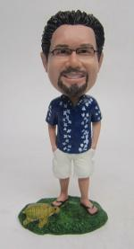 Hawaii style bobble head with turtle