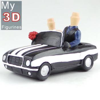 3d personalized bobbleheads driving car couple SR250