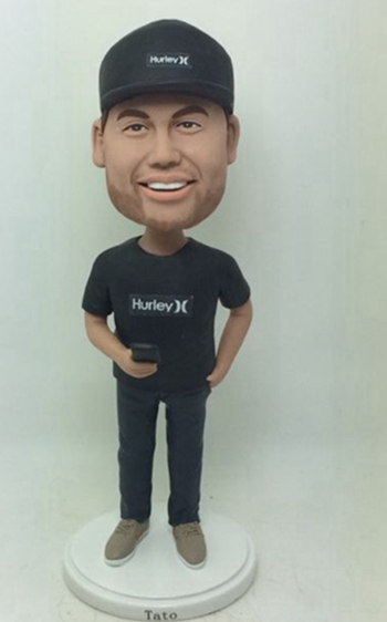 Personalized bobblehead all in black