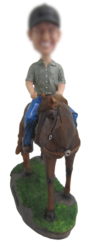 Riding race horse bobbleheads doll