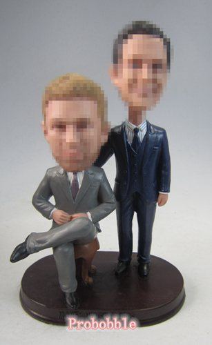 Male Gay Same Sex Cake Toppers wedding bobbleheads
