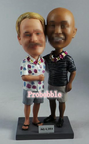 Same sex gay wedding bobbleheads cake toppers Hawaiian style