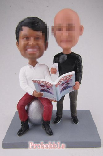 Male Gay Same Sex Cake Topper reading book bobbleheads