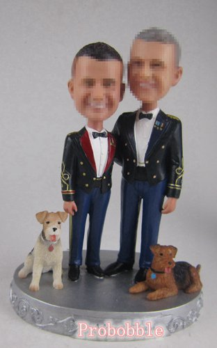 Personalized male gay same sex cake topper with dogs