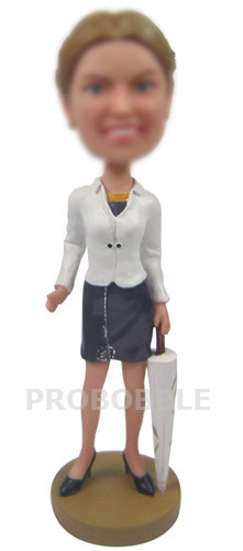 Office Lady with Umbrella Bobbleheads