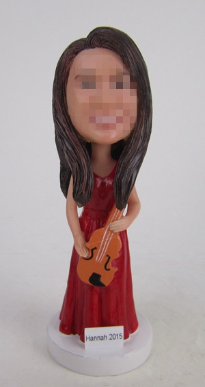 Custom female violin player bobbleheads