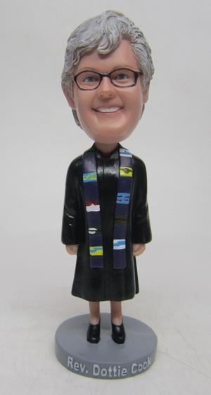 Custom judge bobble head doll with scarf