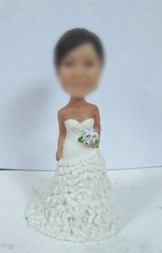 Personalized Bridesmaid Bobbleheads with flowers